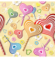 Sweet heart pattern old paper art vector image