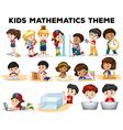 Kids solving math problems vector image