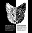 black and white cat head in inverse leaflet design vector image