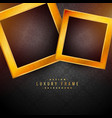 black background with two golden frames vector image