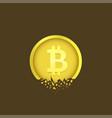 cracked bitcoin coin vector image