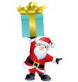 cute santa claus holding a present vector image
