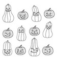halloween black and white pumpkins with different vector image