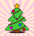 Kawaii Christmas tree with smiling face vector image