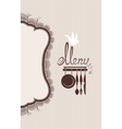Restaurant menu design with lace table napkin and vector image