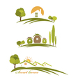 landscape with houses and trees vector image