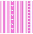 Seamless pink stripes with hearts vector image