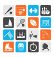 Silhouette Sport objects icons vector image vector image
