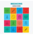 Medicine icons Syringe heartbeat and pills vector image