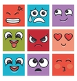 charatcer differents emoticons square colors vector image