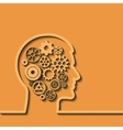 Gears in human head Thinking process vector image