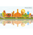 Madrid Skyline with Color Buildings vector image