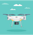 remote aerial drone with a camera flat design vector image