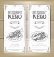 set of restaurant menu hand drawn banners vector image