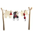 Womens underwear drying on rope outdoors vector image