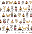 Pattern with american indian animals vector image