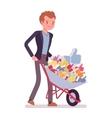 Businessman pushing a wheelbarrow full of likes vector image