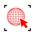 earth globe with cursor red icon inside vector image vector image