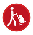 circle emblem pictogram of man and hand truck and vector image