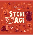 prehistoric stone age print in cartoon vector image