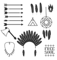 Ethnic icon set in netive style vector image vector image