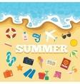 Beach icons and the sea background vector image