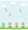Colorful dragonflies and flowers vector image vector image
