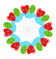 a round wreath of smiling balloons cartoon green vector image