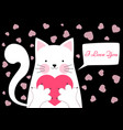 cute funny cat with heart valentine s day vector image