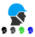 soldier helmet flat icon vector image
