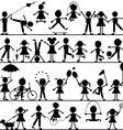 Stylized hand drawn children playing vector image