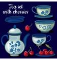 Tea set of porcelain on a blue background vector image