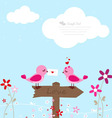 Two pink birds with love letter vector image vector image