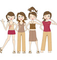 Group of young women vector image