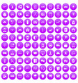 100 dispatcher icons set purple vector image
