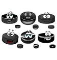 Cartoon black ice hockey pucks characters vector image vector image