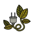 electric plug with leaves isolated icon design vector image
