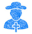 christian priest grunge icon vector image