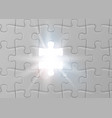 white jigsaw puzzle with missed and shining piece vector image