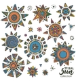 collection of graphic doodle suns vector image