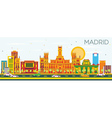 Madrid Skyline with Color Buildings vector image vector image