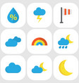 weather flat icons set collection of bow vector image