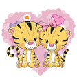 two cute tigers vector image