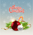 Christmas background with red decoration vector image