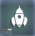 Rocket icon On the blue-green abstract background vector image