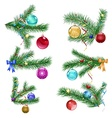 Christmas tree branches with Christmas balls vector image