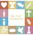 First Communion Invitation Card vector image