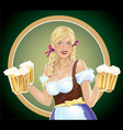 Girl waitress with a beer in hand vector image