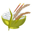 green bowl with rice and chopsticks near its ears vector image