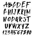 hand drawn brush font uppercase and lowercase vector image
